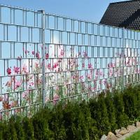 Sommerblumen - Bedruckter Sichtschutz Streifen Rolle Doppelstab Zaun