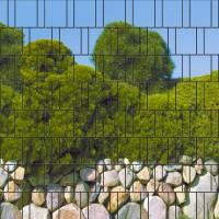 Mallorca - Bedruckter Sichtschutz Streifen Rolle Doppelstab Zaun