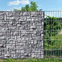 Steinlabyrinth - Bedruckter Sichtschutz Streifen Rolle Doppelstab Zaun